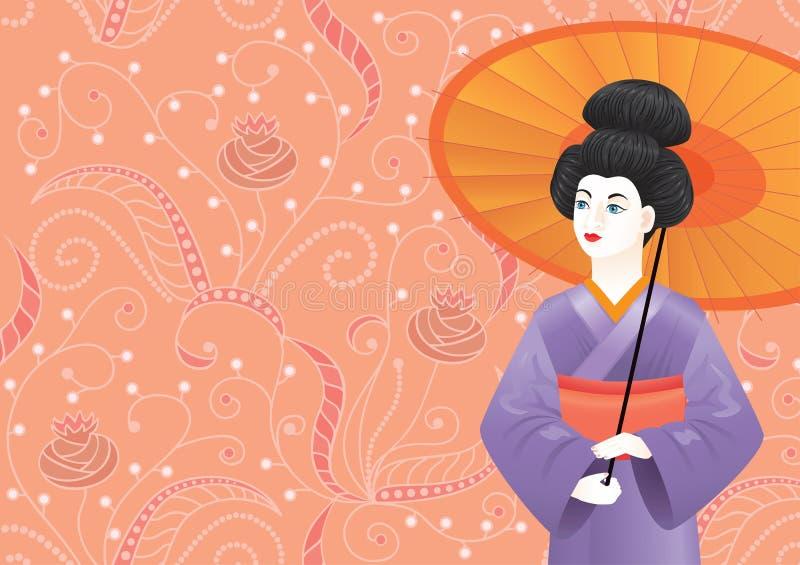 Kimono de port japonais de fille de geisha sur le modèle-fond rose illustration stock