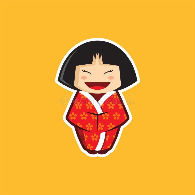 Kimono de port japonais de vecteur de fille/enfant avec Sakura Pattern illustration stock