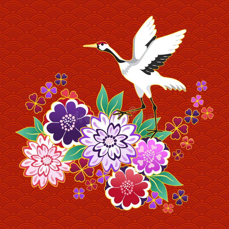 Kimono decorative motif with flowers and crane stock illustration