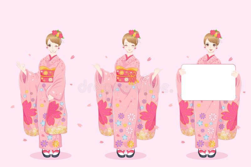 Kimono del desgaste de mujer stock de ilustración