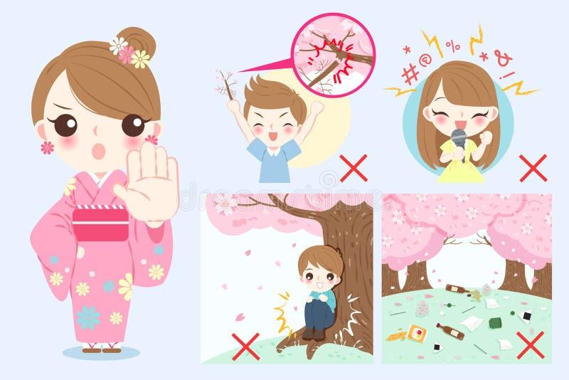 Kimono del desgaste de mujer ilustración del vector