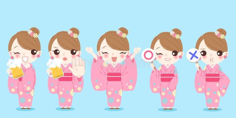 Kimono för kvinnakläder vektor illustrationer