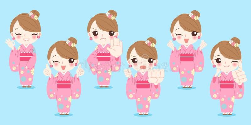 Kimono för kvinnakläder stock illustrationer