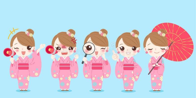 Kimono för kvinnakläder royaltyfri illustrationer