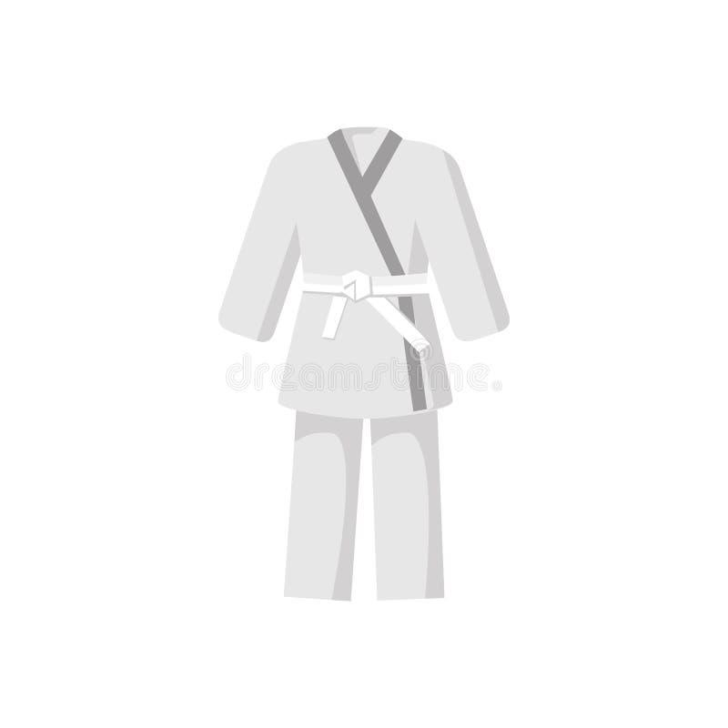 Kimono med den vita bältesymbolen för kampsporter vektor illustrationer