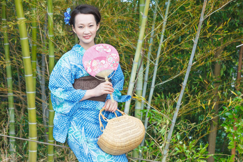 Kimono Woman With Fan Stock Photography