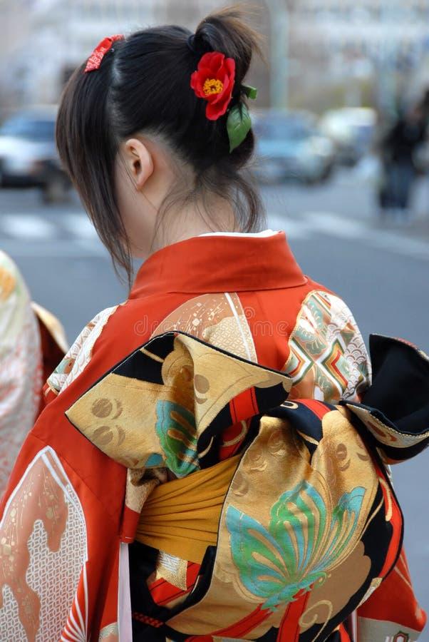 kimonokvinnabarn royaltyfri fotografi