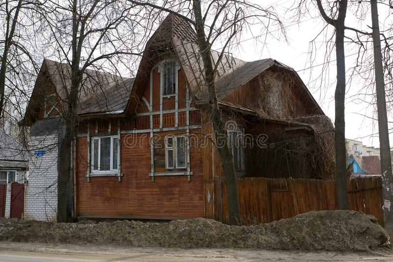 Old house in Kimry royalty free stock photo