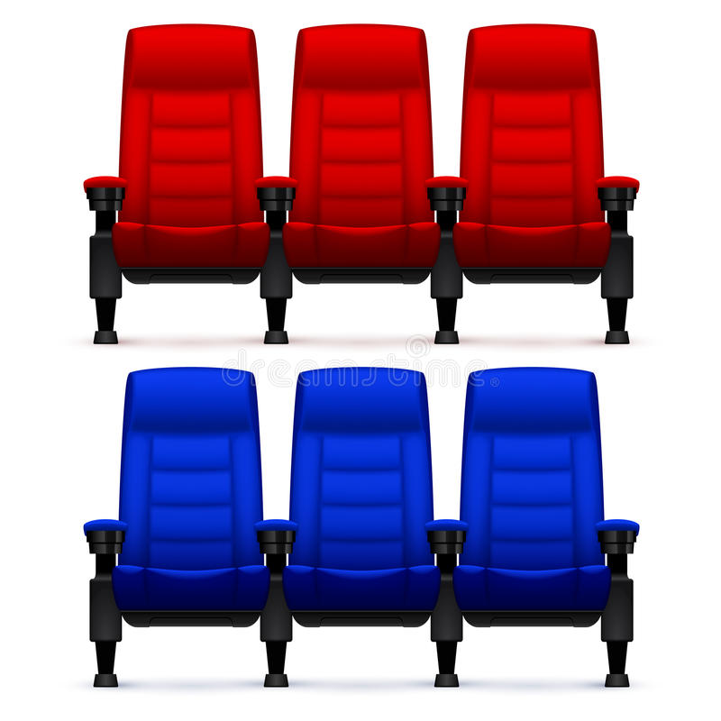Kin puści wygodni krzesła Realistyczny film sadza wektorową ilustrację ilustracja wektor