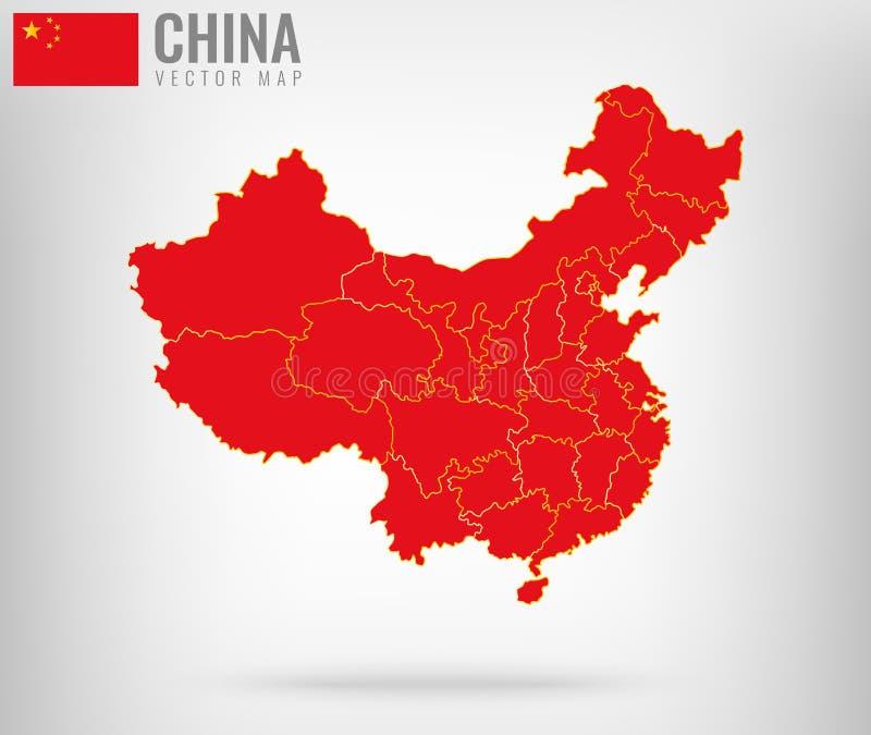 Kina översikt med guld- gränser vektor royaltyfri illustrationer