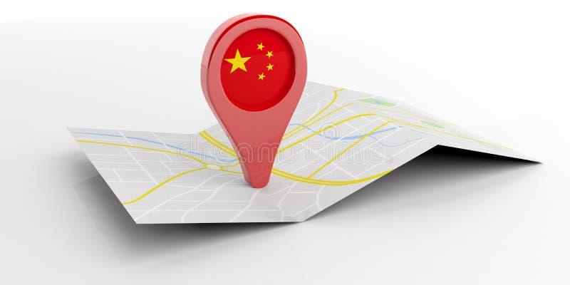 Kina översiktspekare på vit bakgrund illustration 3d stock illustrationer