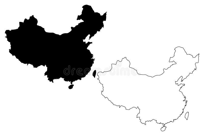 Kina översiktsvektor royaltyfri illustrationer