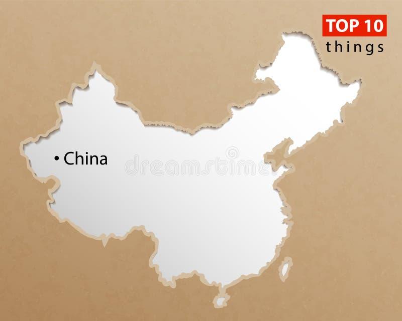 Kina översiktsvektor Kinesiska översikter tillverkar papperstextur Beståndsdel för design för tom information om mall idérik stock illustrationer