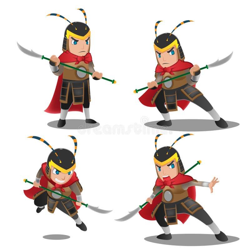 Kina Armor Warrior Character Set vektor illustrationer