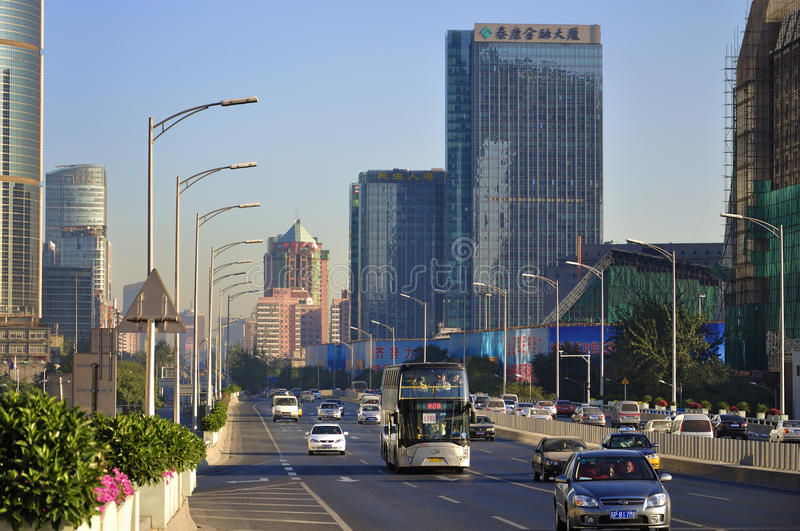 Kina Beijing finansgata, horisont arkivfoton