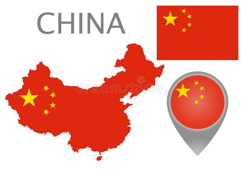 Kina flagga, översikt och översiktspekare royaltyfri illustrationer