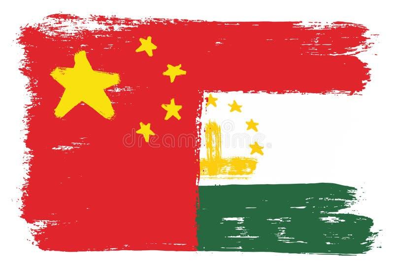 Kina flagga & hand för Tadzjikistan flaggavektor som målas med den rundade borsten royaltyfri illustrationer