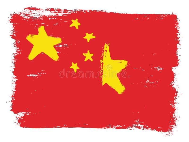 Kina flagga & hand för Vietnam flaggavektor som målas med den rundade borsten vektor illustrationer