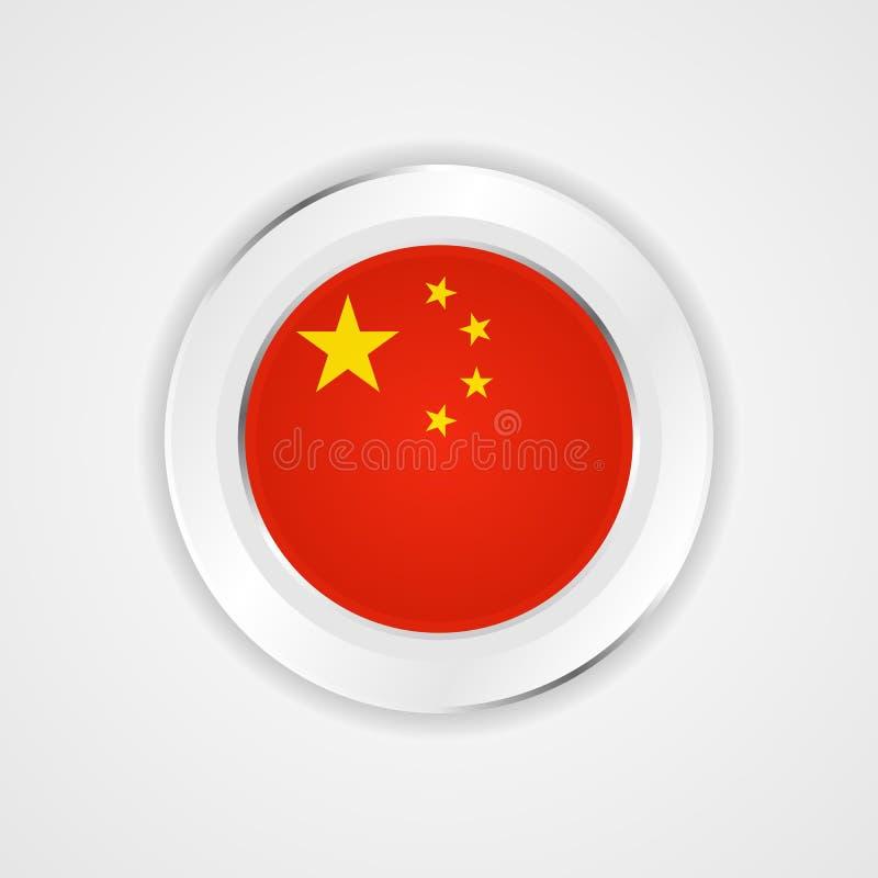 Kina flagga i glansig symbol stock illustrationer