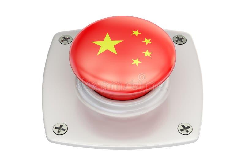 Kina flaggatryckknapp, 3D royaltyfri illustrationer