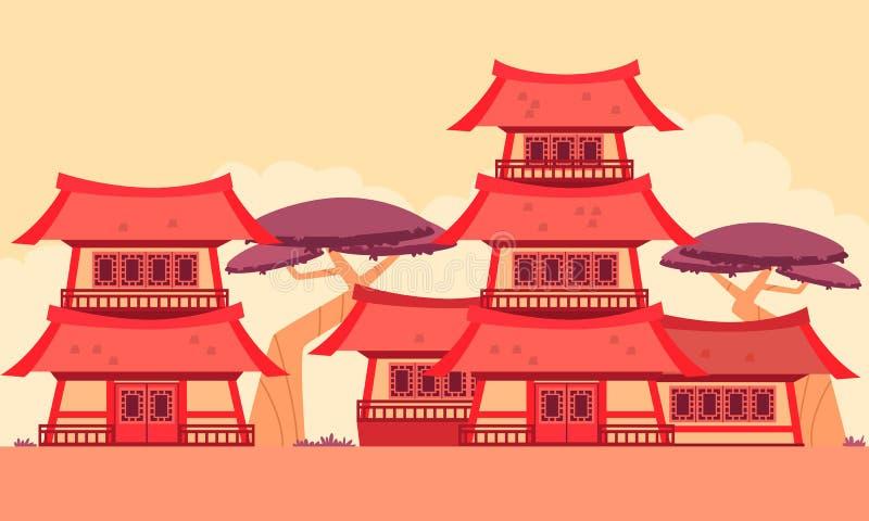 Kina gammal stad stock illustrationer