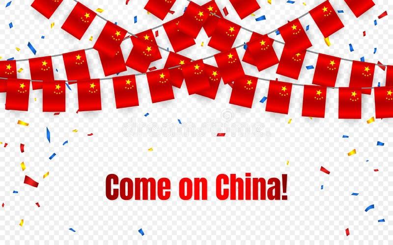 Kina girlandflagga med konfettier på genomskinlig bakgrund, hängningbunting för berömmallbanret, vektorillustration vektor illustrationer