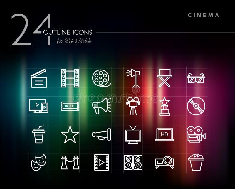 Kina i filmu konturu ikony ustawiać royalty ilustracja