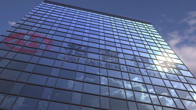 KINA KÖPMÄN PACKAR IHOP logo på reflekterande himmel för modern byggnad och moln, den redaktörs- tolkningen 3D arkivbilder