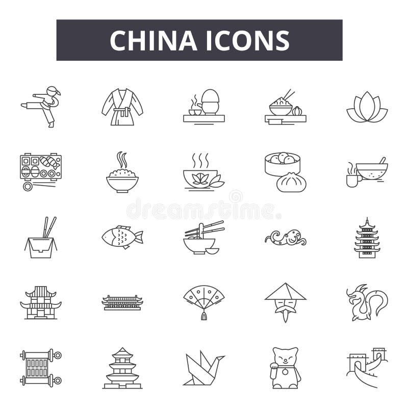 Kina linje symboler för rengöringsduk och mobil design Redigerbart slaglängdtecken Illustrationer för Kina översiktsbegrepp royaltyfri illustrationer