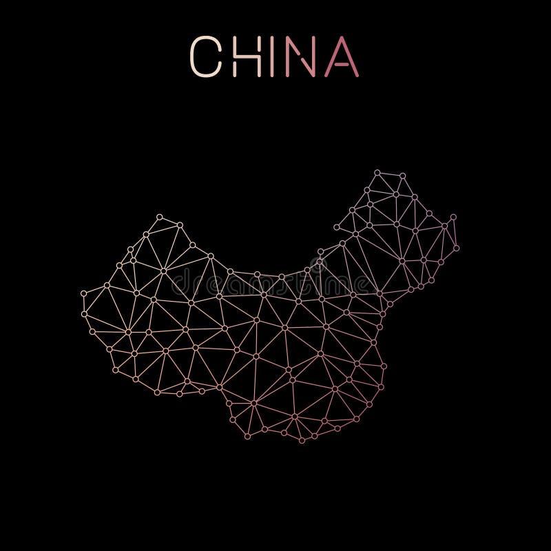 Kina nätverksöversikt vektor illustrationer