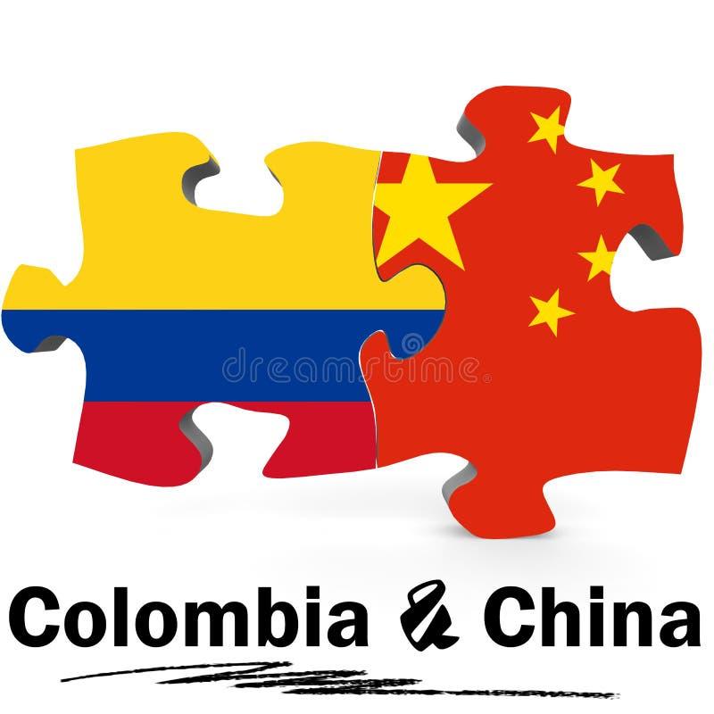 Kina och Colombia flaggor i pussel royaltyfri illustrationer