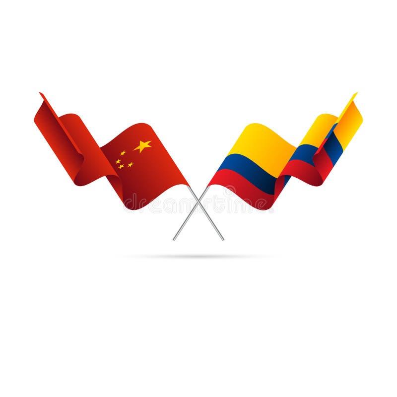 Kina och Colombia flaggor också vektor för coreldrawillustration stock illustrationer