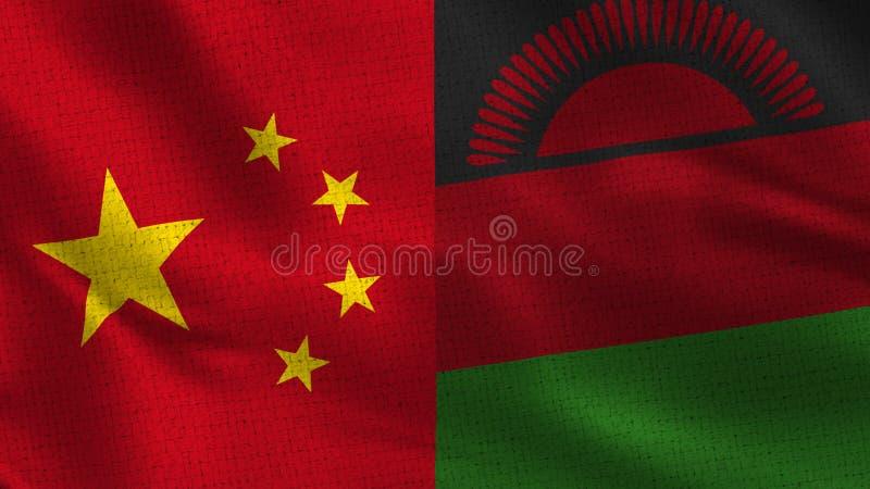 Kina och Malawi - två halva flaggor tillsammans royaltyfri illustrationer