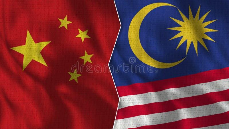 Kina och Malaysia halva flaggor tillsammans royaltyfri illustrationer