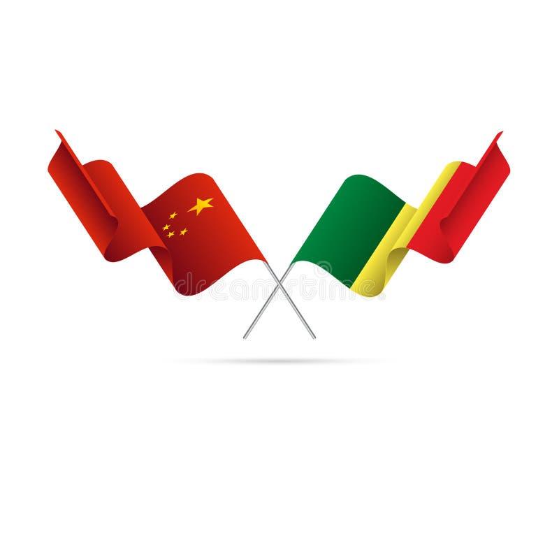 Kina och Senegal flaggor också vektor för coreldrawillustration royaltyfri illustrationer