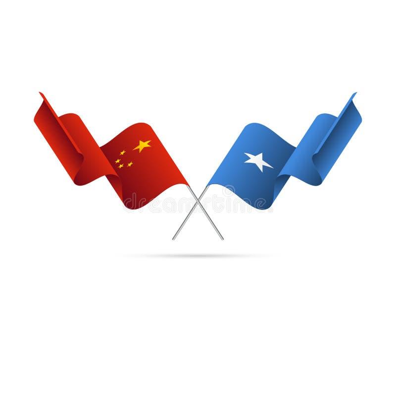 Kina och Somalia flaggor också vektor för coreldrawillustration stock illustrationer
