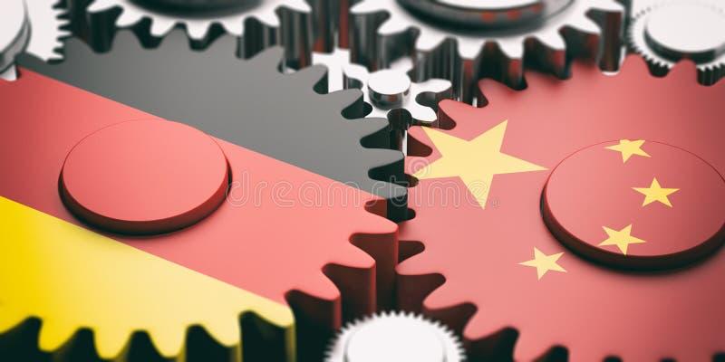 Kina och Tysklandflaggor på metallkugghjul illustration 3d royaltyfri illustrationer