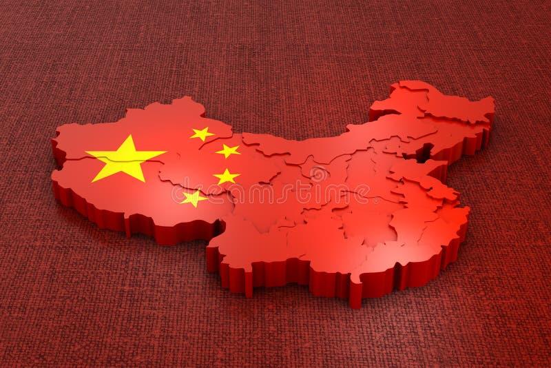Kina på flaggan vektor illustrationer