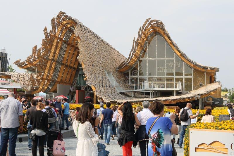 Kina paviljong Milan, milano expo 2015 royaltyfria bilder