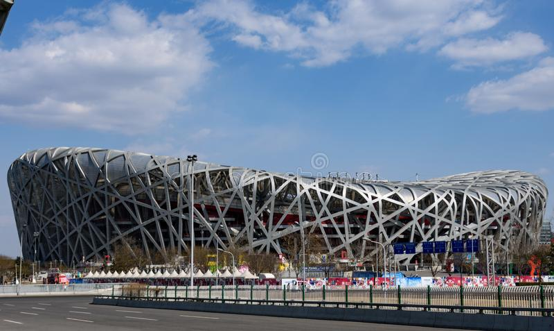Kina Peking Olympic Stadium ?f?gelbo ?, arkivbild