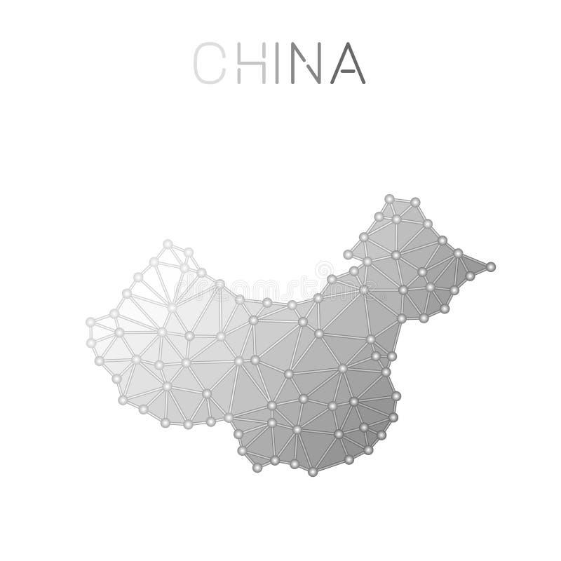 Kina polygonal vektoröversikt stock illustrationer