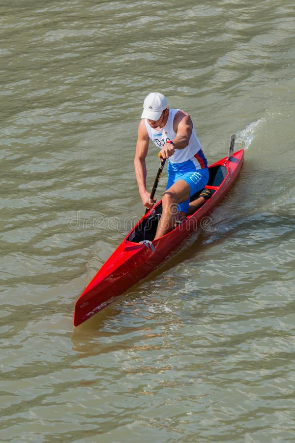 Kina Shanghai Jingan Shaoxing kanota maratonvärldscup 2017 royaltyfri foto