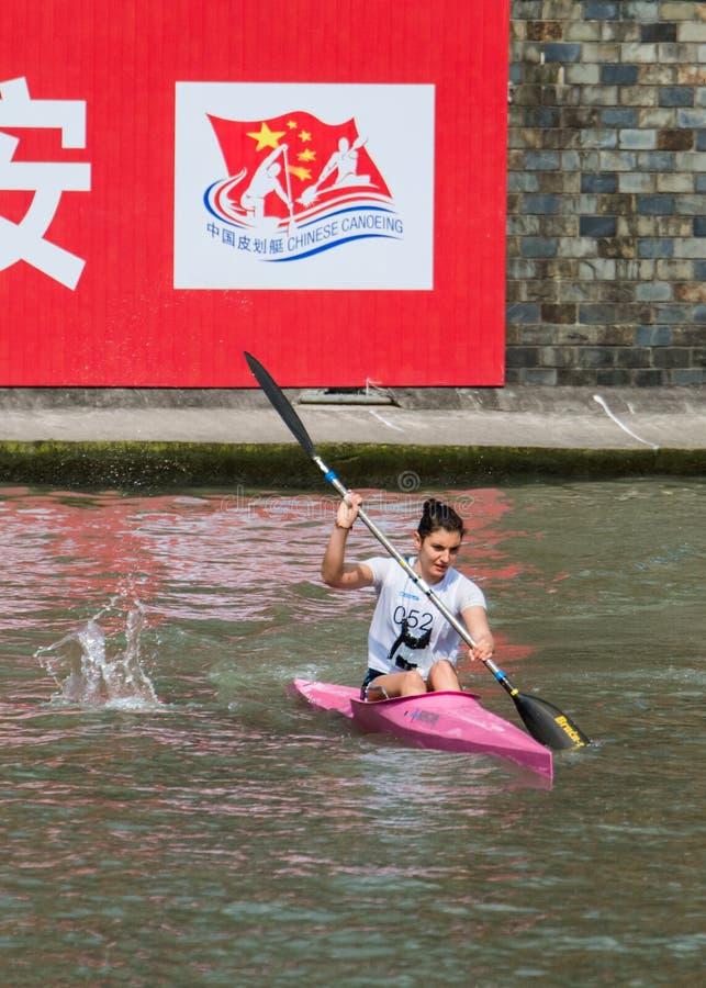 Kina Shanghai Jingan Shaoxing kanota maratonvärldscup 2017 arkivbilder