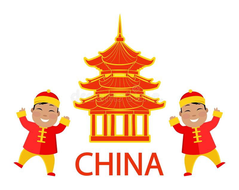 Kina ställde den kinesiska resanden och barn in vektorn vektor illustrationer