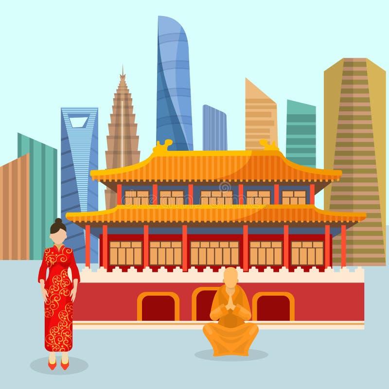Kina stads- loppbegrepp med den kinesiska gränsmärkevektorn Pagoden, geishaen i röd kimono och den buddistiska munken med morden stock illustrationer
