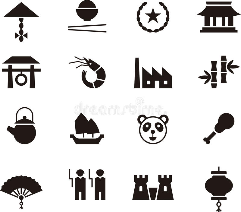 Kina symbolsuppsättning vektor illustrationer