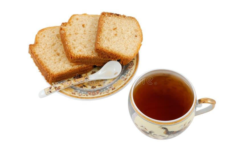 Kina teacup med tårtor arkivbild