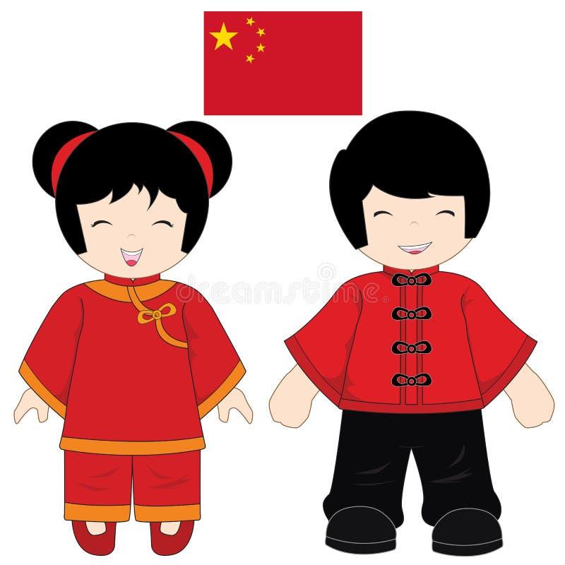 Kina traditionell dräkt royaltyfri illustrationer