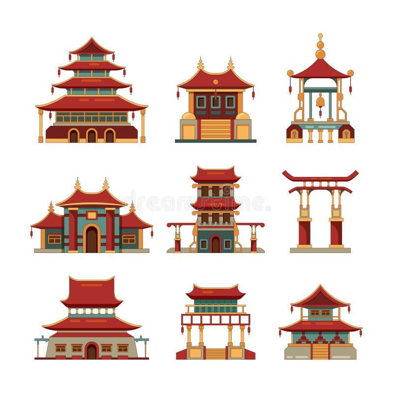 Kina traditionella byggnader Kulturell samling för tecknad film för vektor för slott för pagod för Japan objektport av byggnader royaltyfri illustrationer