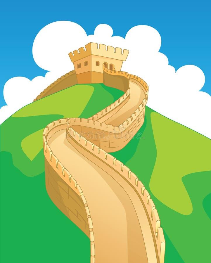 Kina vägg royaltyfri illustrationer